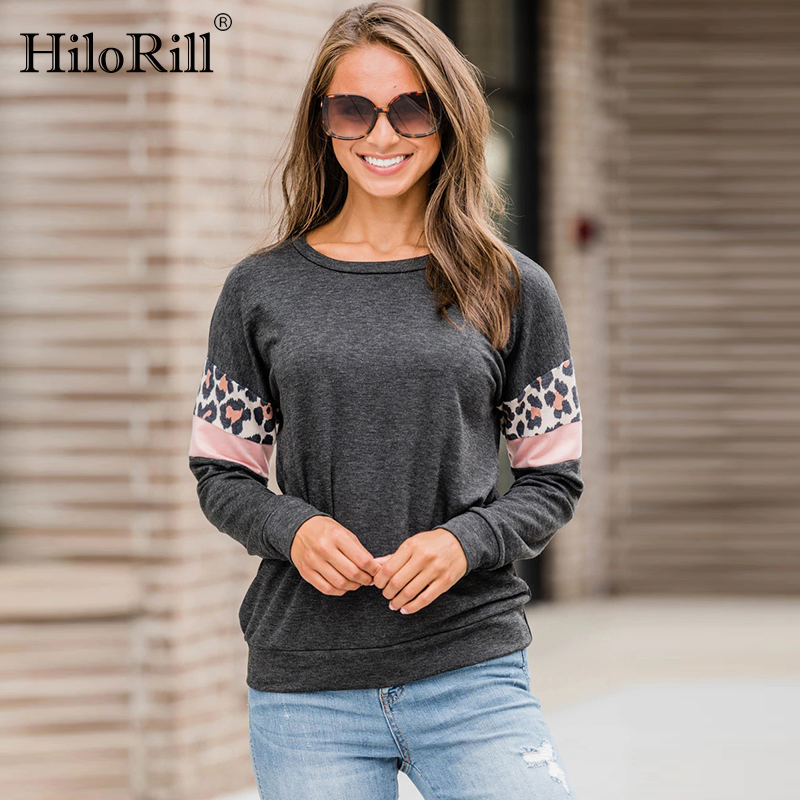 Blusas Femininas 2019 Fashion Women   Blouses   Leopard Print Long Sleeve   Blouse     Shirt   Casual O-Neck Loose Tops Tees Plus Size XL