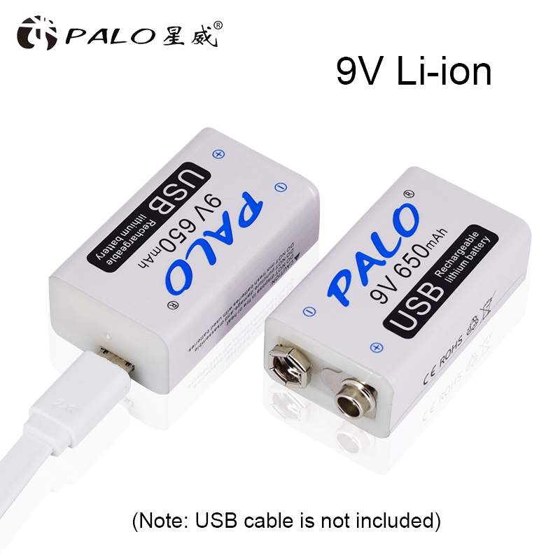 PALO <font><b>9V</b></font> 650mAh lithium li-po li-ion rechargeable <font><b>battery</b></font> <font><b>charge</b></font> with micro <font><b>usb</b></font> cable for microphone toy Remote Controler KTV image