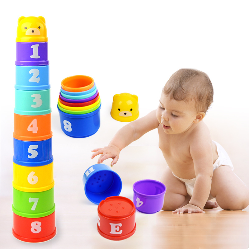 8PCS Educational Baby Toys 6 Months Figures Letters Foldind Stack Cup Tower Children Early Intelligence