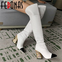 Party-Shoes High-Boots FEDONAS Over-The-Knee Rhinestone Warm Winter Women Tight Sexy