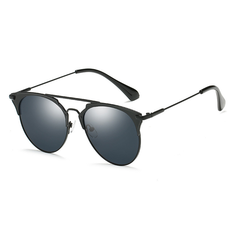 Luxury Retro Cat eye Sunglasses Women Vintage Half Metal Mirror Round Glasses Sun UV400 Vintage Ladies Sunglass