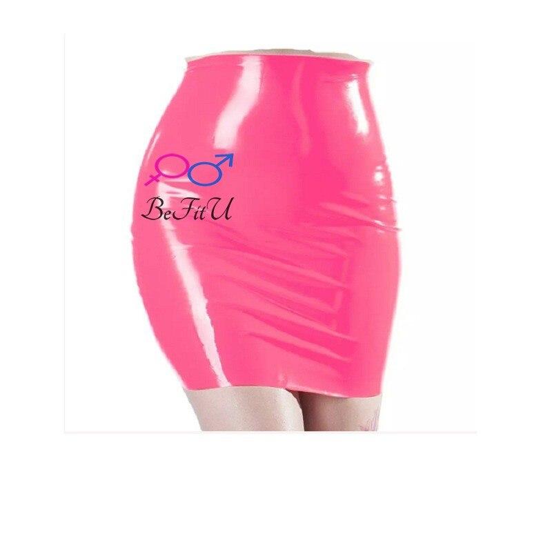 Горячая новинка, Сексуальная мини-юбка из латекса для вечеринок, розовые и черные бесшовные прорези для бедер