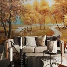 Custom wallpaper 3D stereo photo mural European golden pastoral landscape oil painting elk swan TV background wall paper