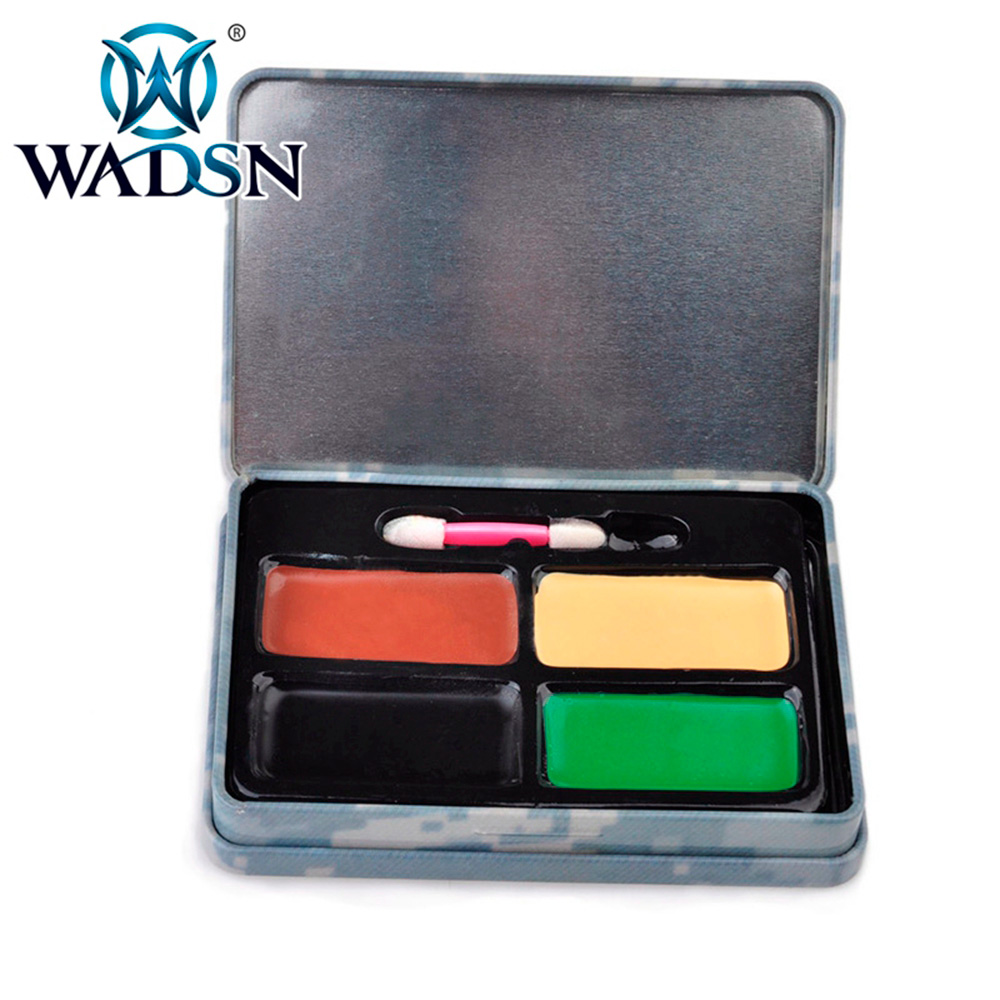 WADSN 4 Color Tactical Camo Face Paint Makeup Kit Hunting Airsoft Army Fans Camouflage Military Kit WEX412 Paintball Accessories