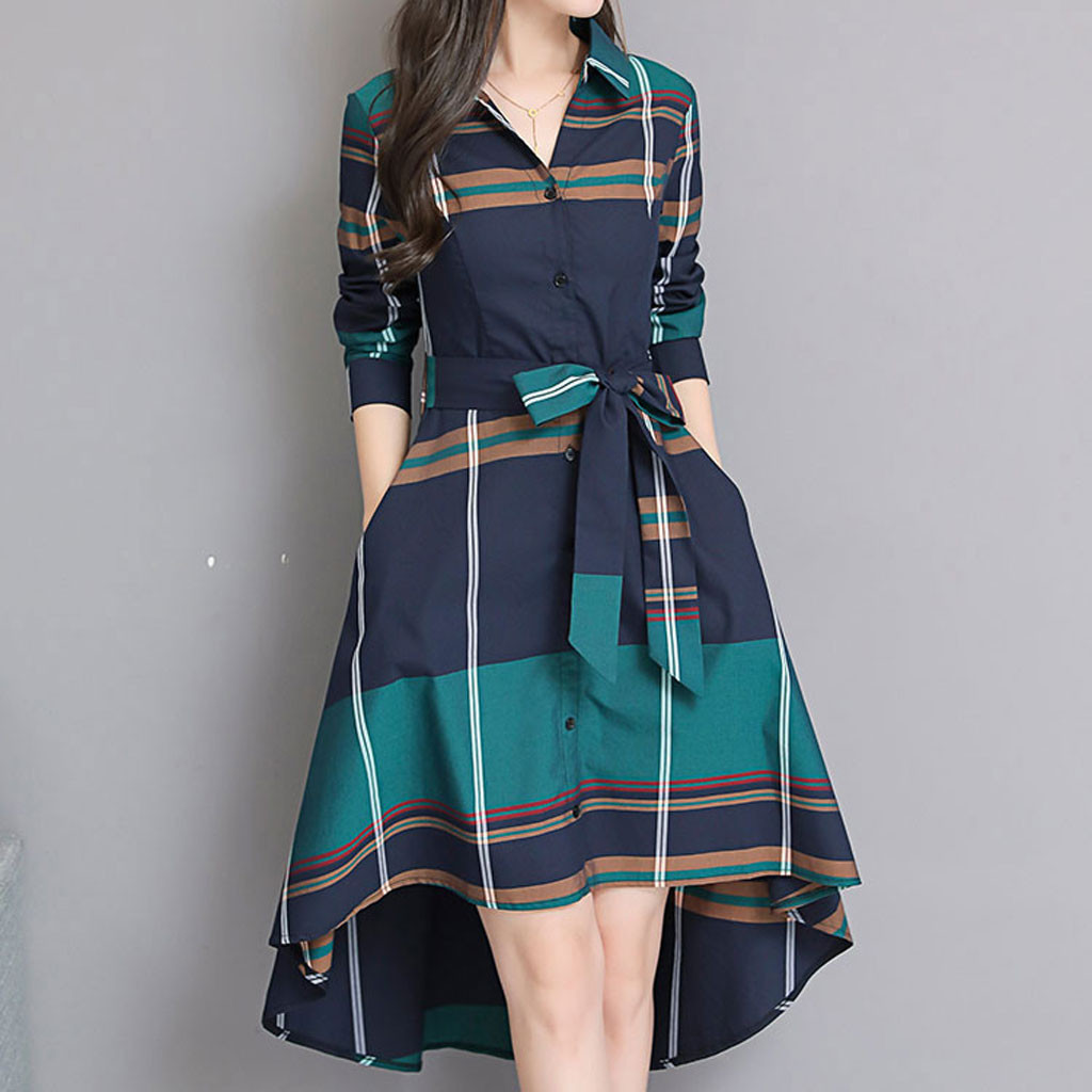 frauen grid streifen kleid elegante dame büro langarm kleid frauen tunika  bandage midi kleid plus größe herbst winter b