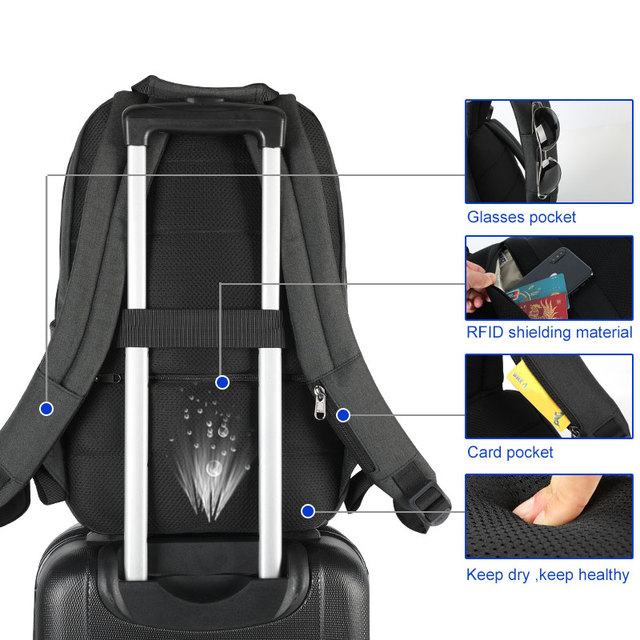 2019 New Design Fashion Anti theft RFID 15.6 inch Laptop Men Backpack Large Capacity Light Weight Travel School Backpack Mochila 4