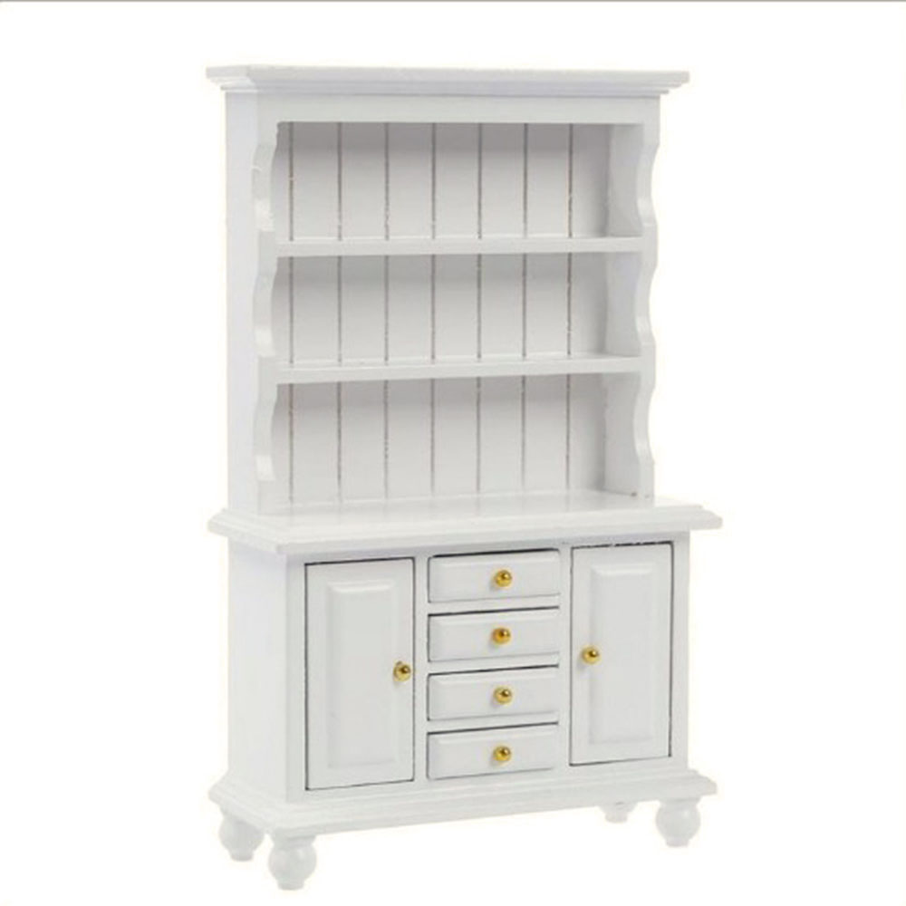 1:12 Dollhouse Miniature Furniture Multifunction Wood Cabinet Bookcase Kitchen Cupboard With Working Drawer Accessories