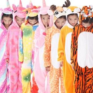 Image 1 - Pyjama hiver pour garçons, pyjama Cosplay à la couture, vêtements de nuit, licorne, pyjama Kigurumi pour enfants 4 12 ans