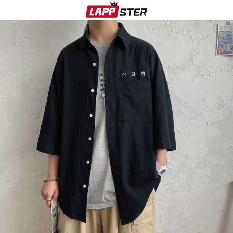 LAPPSTER Men Embroidery Kpop Korean Shirts 2020 Mens Harajuku Black Shirt Half Sleeve Male Vintage Casual Button Up Shirt