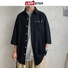 Korean-Shirts Kpop Embroidery Button-Up Half-Sleeve Harajuku Vintage Male Men Casual