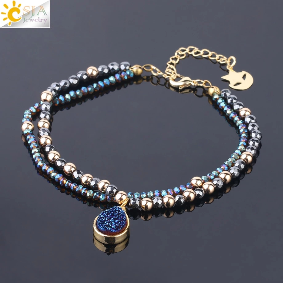 CSJA Natural Stone Bracelets Geode Druzy Crystal Bracelet Summer Statement 2 Strand Beads Women Hematite Pulsera Jewelry S235