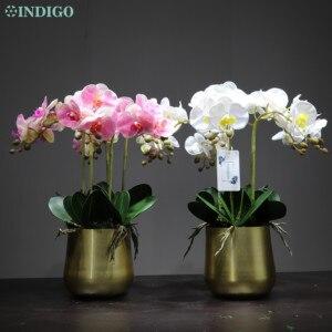 Image 2 - INDIGO  1 Set çiçek aranjmanı kelebek orkide vazo ile gerçek dokunmatik çiçek ofis masası Centerpiece parti olay ücretsiz kargo