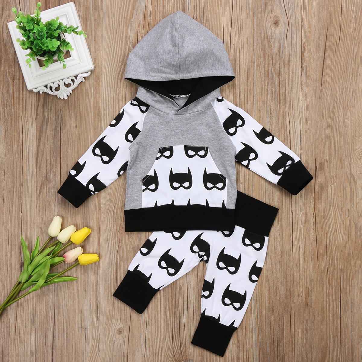 Pudcoco Toddler Baby Boys Clothes Set  0-5Y Cartoon Hooded Sweatshirts Tops  Pants Outfits Autumn Clothes