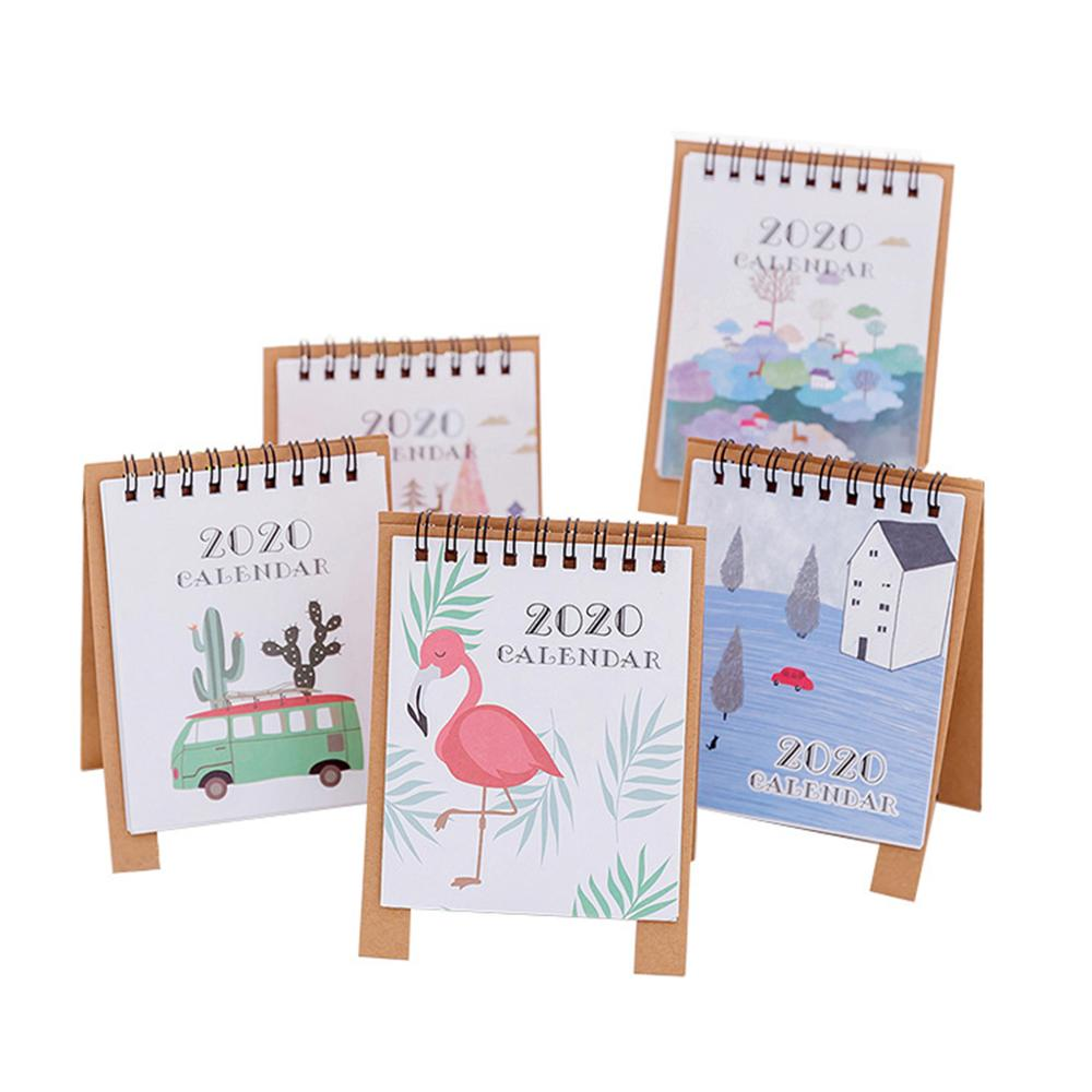 2020 Calendar Hand Drawing Cartoon Flamingo Fresh Mini Desktop Paper Dual Daily Schedule Table Planner Yearly Agenda Organizer