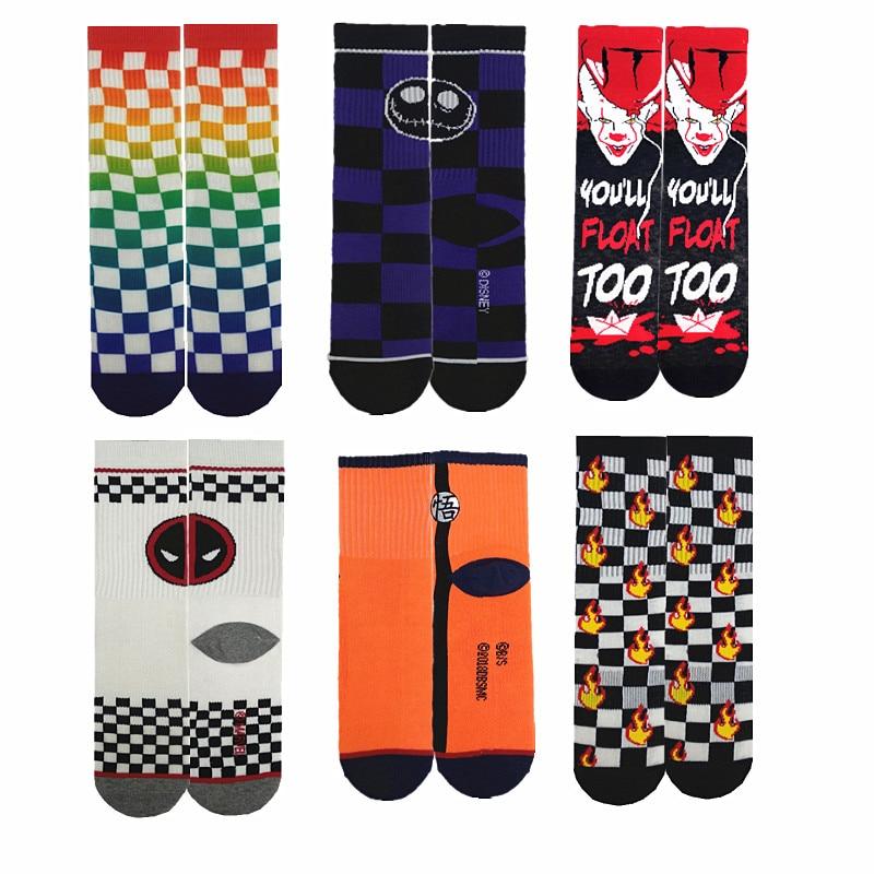 Casual Cartoon Movie Character Clown Print Novelty Funny Men Sock Horrible It Crew Socks Personalized Skateboard Socks