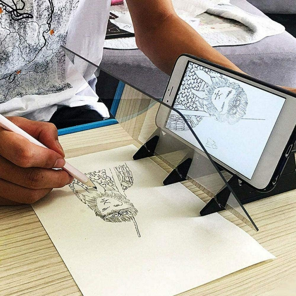 Cathery Portable Optical Tracing Board Stencil Light Box Copy Pad Panel Crafts Mirror Drawing Reflection Board Painting Art Easy Drawing Sketching Tool