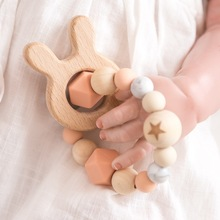 1PC  Silicone Beads Teether  Wooden Beads  Bracelet Nursing Teething Toys BPA Free Beech Wooden Star Bracelet DIY Baby Teether