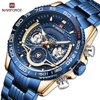 Original NAVIFORCE Men Watch Luxury Casual Sport Steel Band Clock Waterproof Military Quartz Wristwatches Male Relogio Masculino