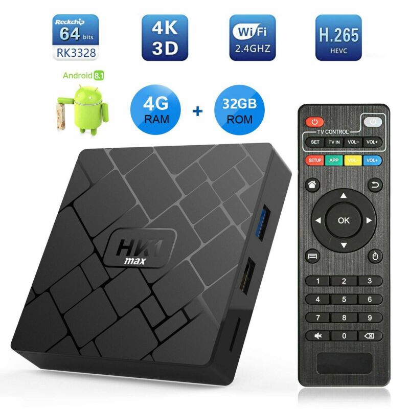 HK1MAX 4+32/64G Android 8.1.0 Pie Quad Core 4K Smart TV BOX Media Player MINI PC
