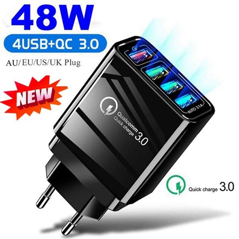 Adaptateur 4 Ports 48W QC 3.0, Charge rapide 3.0, USB, prise murale ue/US/royaume uni, pour téléphone portable, maison, voyage, Ad