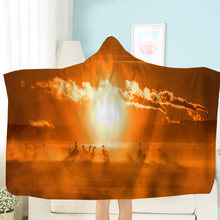 Clouds hooded blanket rainbow bomb fleece 3d print cartoon home