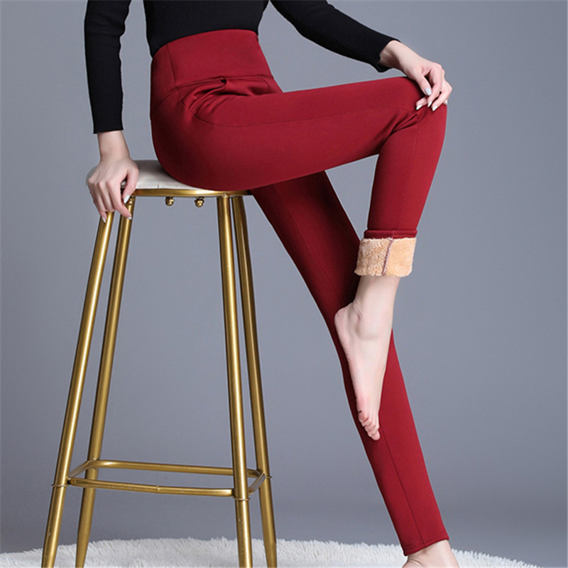 Korean Fashion Women Pants Woman Wool Cotton Pencil Pants Cashmere Woman High Waist Warm Trousers Plus Size 5XL Trousers Women