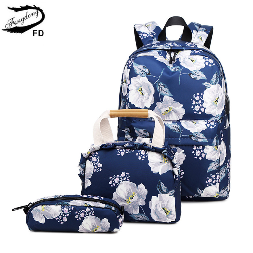 Fengdong 3pcs/set Floral School Backpack For Girls Cute Flower Handbag Set Student Pencil Bag Children School Bags Kids Backpack