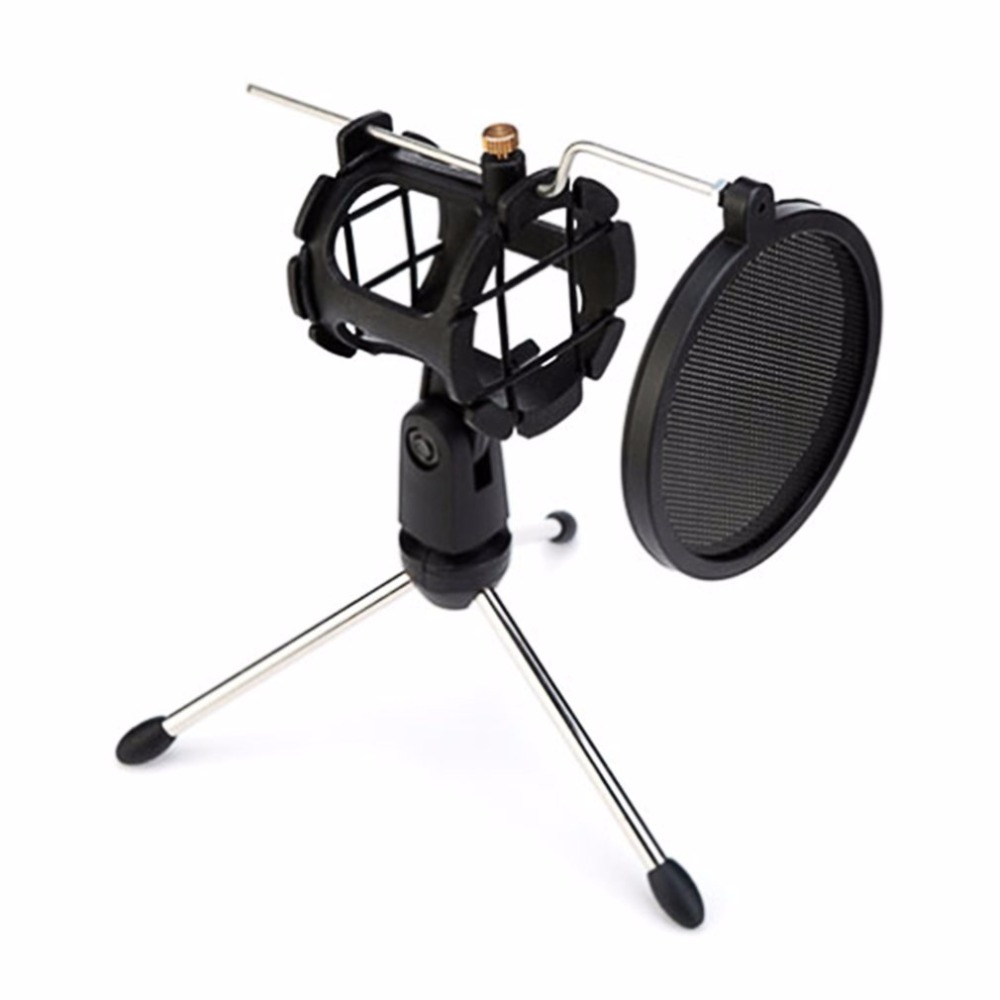 Microphone Tripod Stand Foldable Desktop Microphone Bracket with Shock Mount Mic Holder Clip and Pop Filter