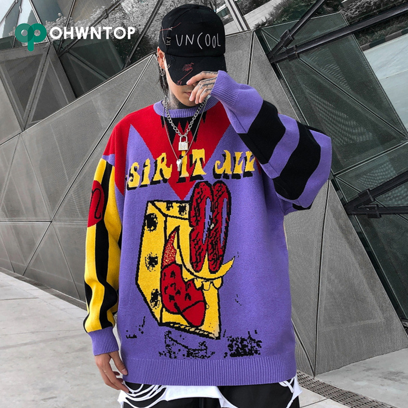 Fashion Hip Hop Purple Pullover Knit Sweater Men Brand Clothing Sweaters Loose Coat Tops Harajuku Sweaters Men Autumn Streetwear
