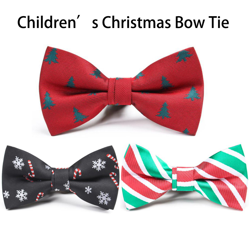 Ricnais Chirstmas Boys Toddler And Pet  Bowtie Red Green Snowman Christmas Tree Silk Boys Suit Chilrdren Festival Party Neckties
