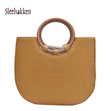 2019 handmade beach bag ladies fashion handbag summer woven straw travel shopping