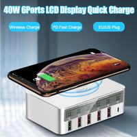 40W Wireless Quick Charge 6 Multi Port Fast Charger USB Hub Table Desktop Adapter Mobile Phone LCD Display Wireless Quick Charge
