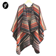 Women's Open Front Poncho Scarf Sweater Wrap Shawl Poncho Cape Pashmina Knitted Waves Pattern Female Ruana geometrical pattern cape loose sweater with taeesl details