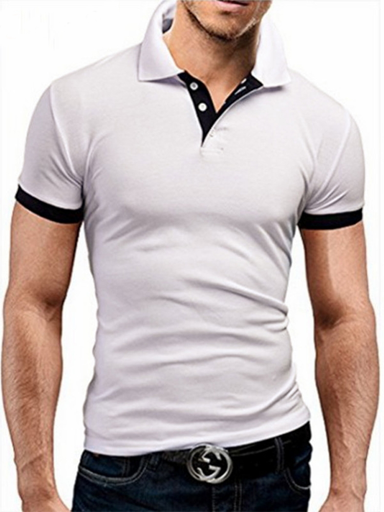 Shirt Polo Shorts-Sleeve Business Stritching Men Men's Summer Luxury Covrlge Brand MTP129