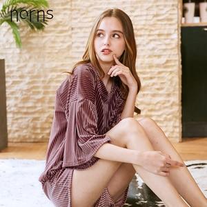 Image 5 - Norns Gold Velvet Pajamas Womens Four Seasons Sleeve Shorts Two piece Home Service Sleepwear Nightwear