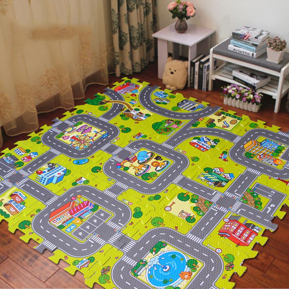 9pcs/set Baby EVA Foam Mat Puzzles Baby Mat Play Floor Carpet Kids City Road Carpets Interlocking Tiles Children