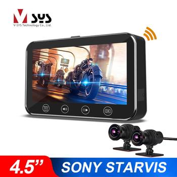 VSYS P4.5 4.5'' LCD Motorcycle Dash Cam WiFi Dual 1080P Camera Recorder SONY Starvis Waterproof Motorcycle DVR-Voltmeter Feature 1