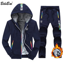 BOLUBAO Men Tracksuit Sets Jacket + Pant Sweatshirts 2 Piece 2019 Winter Men'a Set Hooded Sporting Suit Coat Set Sportswear Male(China)