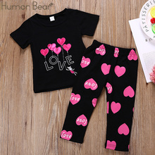 Humor Bear Girls Clothing Set Baby Girls Outfits T-shirt Letter Lip Tops+Printed Long Pants Suit 1-6Year Girls Baby Kid Clothes cheap Fashion O-Neck Sets Pullover BE228 Stretch Spandex COTTON Short REGULAR Fits true to size take your normal size Coat