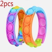 2PCS Fidget Toys For Children Push Bubble Dimple Bracelet Decompression Toy Adults Anti Stress Reliever Sensory Toy Kids Gift