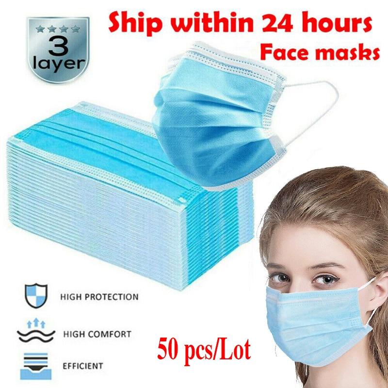 50pcs/bag Disposable Protection Face Mask 3-Ply Nonwoven Face Mask Meltblown Face Mouth Masks Prevent Bacteria Anti-virus Masks
