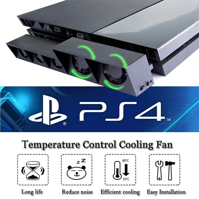 Cooling Fan For <font><b>PS4</b></font> Console Cooler For <font><b>PS4</b></font> USB External 5-Fan Super <font><b>Turbo</b></font> Temperature <font><b>Control</b></font> For Playstation 4 image