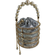 ins hot fashion high sense pearls diamonds luxury handbag bird cage basket shape small Messenger bag evening shoulder