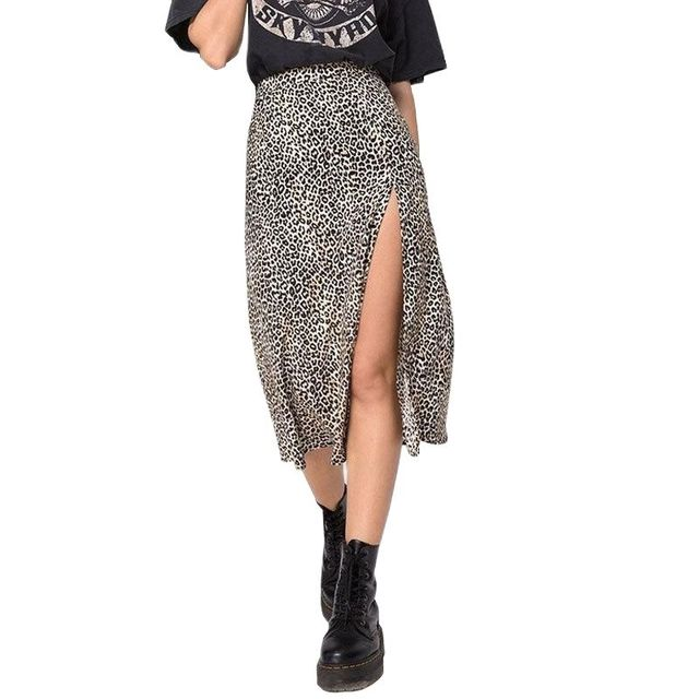 Summer Split Leopard Skirts 2021 Green Fashion Long Skirt Sexy Women Streetwear Loose Lady Clothes Skort for Girls 3