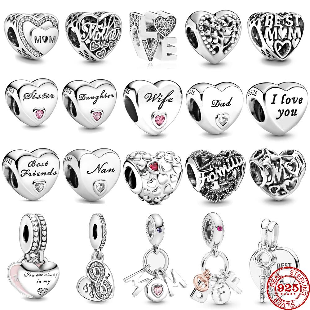 Free shipping Infinity love family heart friendship charm bead fit Original Pandora charms silver 925 bracelet women jewelry