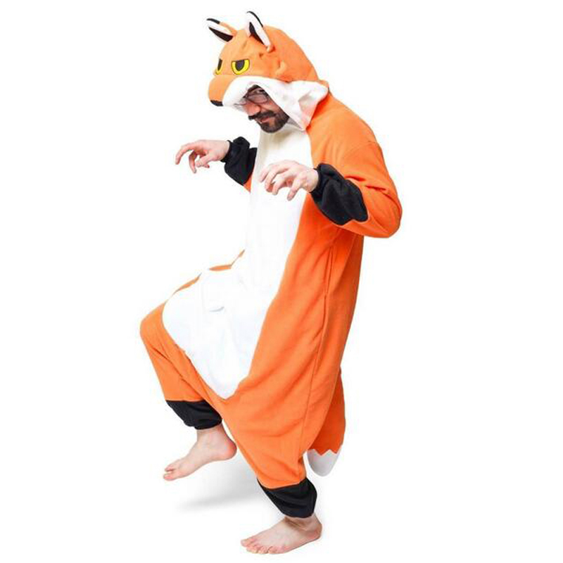 Fox Pajamas Women Men Adult Couple Anime Onesie Festival Party Animal Fox Hooded Pajama Polar Fleece Unicorn Pajamas XL