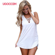 UGOCCAM Tank Top Sexy V-hals T-shirt Criss Cross Strap Mouwloze Losse Solid Hollow Out Casual Lace Up Vrouwen zomer Tops(China)