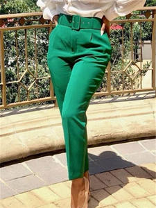 High-Waist-Pants Work Office Pink Modest Female Elegant Yellow Green Large-Size Fashion