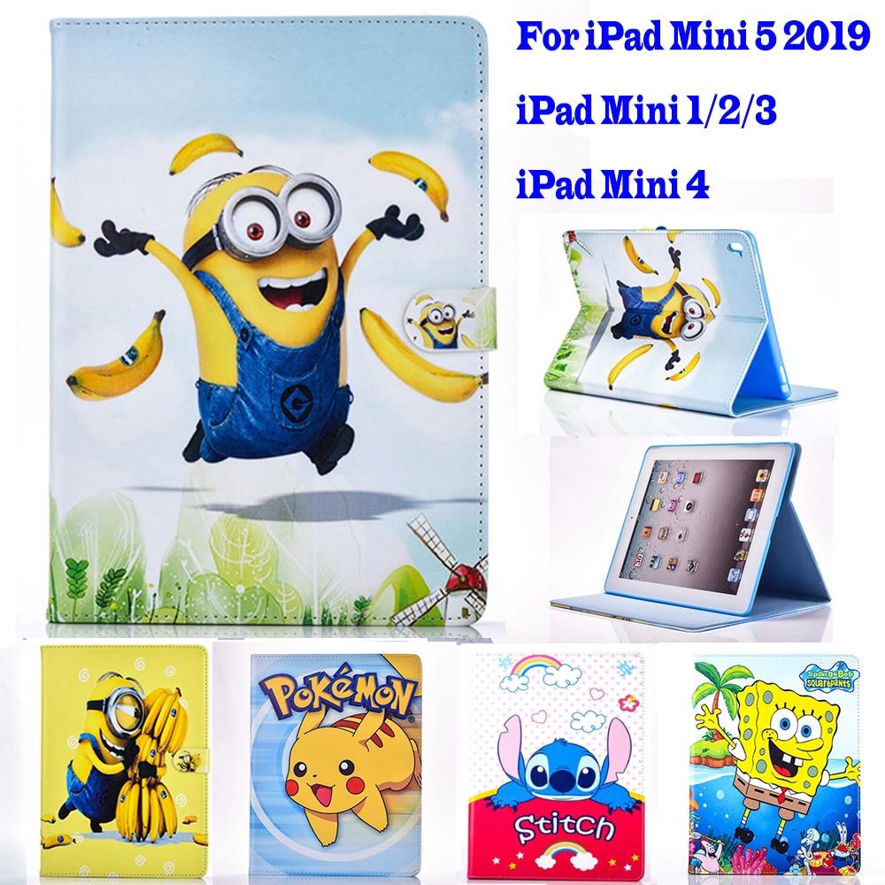 2019 mini 5 caso para apple ipad mini 1 2 3 4 caso dos desenhos animados pokemon minions tablet capa de couro do plutônio suporte da aleta concha coque para