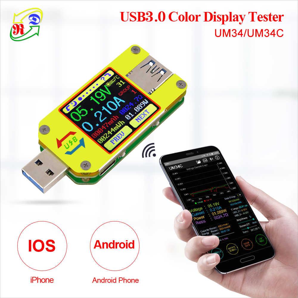 RD UM34 UM34C untuk Aplikasi USB 3.0 Tipe-C DC Voltmeter Ammeter Tegangan Current Meter Baterai Mengukur Kabel resistance Tester